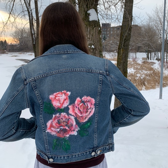 roses hand painted on denim jacket